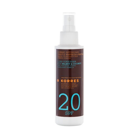 KORRES - SUNCARE CLEAR SUNSCREEN BODY WALNUT & COCONUT 20SPF For water sports, 150mL