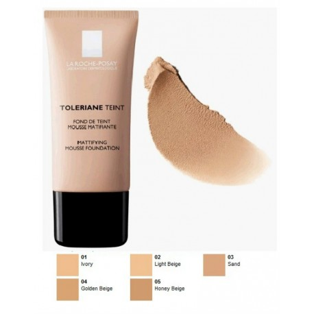 LA ROCHE POSAY - TOLERIANE TEINT MATTIFYING MOUSSE FOUNDATION SPF 20, Tube 30ml (IN 5 COLORATIONS) - 05 HONEY BEIGE