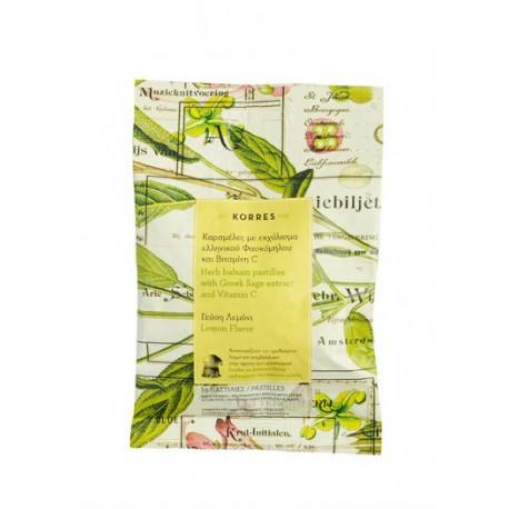 KORRES - PASTILLES ΦΑΣΚΟΜΗΛΟ & ΒΙΤΑΜΙΝΗ C, με Γεύση Λεμόνι 16 Καραμέλες