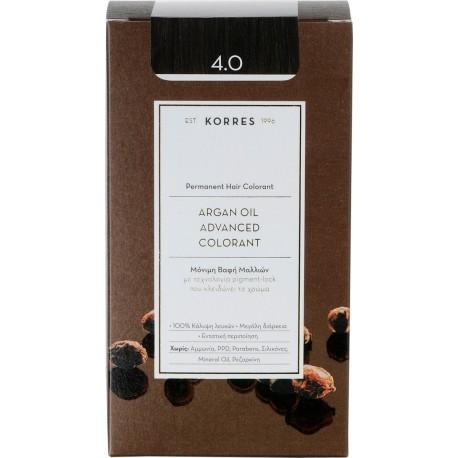 KORRES - Argan Oil Advanced Colorant Μόνιμη Βαφή Μαλλιών με τεχνολογία Pigment-Lock που κλειδώνει το χρώμα 50ml - 4.0 ΚΑΣΤΑΝΟ