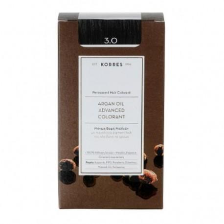 KORRES - Argan Oil Advanced Colorant Μόνιμη Βαφή Μαλλιών με τεχνολογία Pigment-Lock που κλειδώνει το χρώμα 50ml - 3.0 ΚΑΣΤΑΝΟ ΣΚ