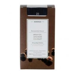 KORRES - Argan Oil Advanced Colorant Μόνιμη Βαφή Μαλλιών με τεχνολογία Pigment-Lock που κλειδώνει το χρώμα 50ml - 2.1 ΜΑΥΡΟ ΜΠΛΕ