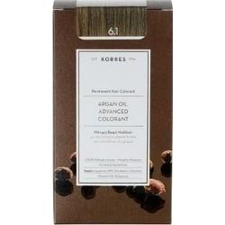 KORRES - Argan Oil Advanced Colorant Μόνιμη Βαφή Μαλλιών με τεχνολογία Pigment-Lock που κλειδώνει το χρώμα 50ml - 6.1 ΞΑΝΘΟ ΣΚΟΥ