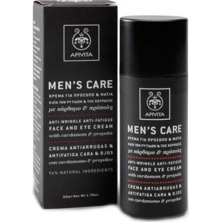 APIVITA - MENS CARE Anti-Wrinkle, Anti-Fatigue Face and Eye Cream with cardamom & propolis 50ml