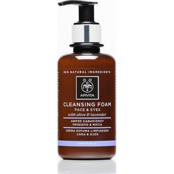 APIVITA - CLEANSING Creamy Face & Eye Foam Cleanser with lavender & olive 200ml