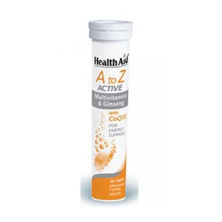 HEALTH AID - A-Z ACTIVE MULTI+GINSENG Multivitamins & ginseng with CoQ10 20 tabs