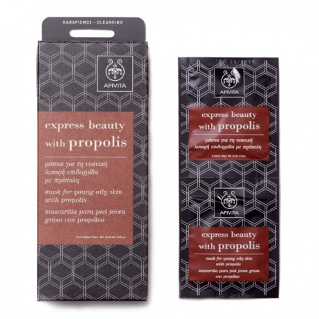APIVITA - EXPRESS BEAUTY Mask for Young Oily Skin with propolis 2x8ml