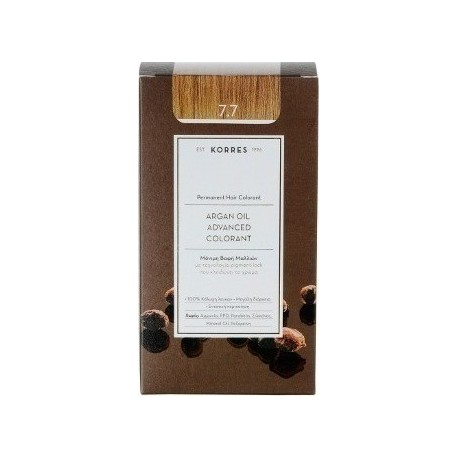 KORRES - Argan Oil Advanced Colorant Μόνιμη Βαφή Μαλλιών με τεχνολογία Pigment-Lock που κλειδώνει το χρώμα 50ml - 7.7 ΜΟΚΑ