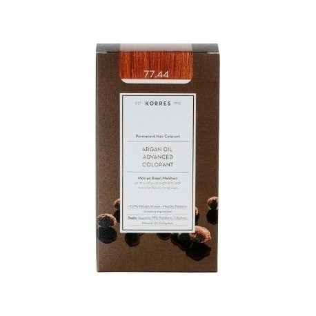 KORRES - Argan Oil Advanced Colorant Μόνιμη Βαφή Μαλλιών με τεχνολογία Pigment-Lock που κλειδώνει το χρώμα 50ml - 77.44 ΞΑΝΘΟ ΕΝ