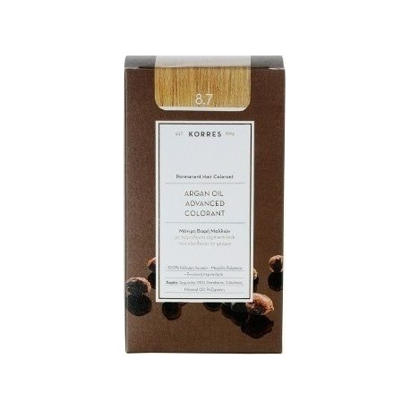 KORRES - Argan Oil Advanced Colorant Μόνιμη Βαφή Μαλλιών με τεχνολογία Pigment-Lock που κλειδώνει το χρώμα 50ml - 8.7 ΚΑΡΑΜΕΛΑ
