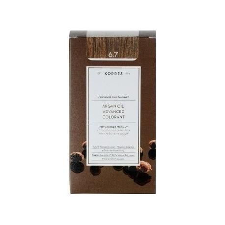 KORRES - Argan Oil Advanced Colorant Μόνιμη Βαφή Μαλλιών με τεχνολογία Pigment-Lock που κλειδώνει το χρώμα 50ml - 6.7 ΚΑΚΑΟ