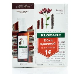KLORANE Quinine Shampoo + Chronic Hair Loss Δυναμωτικό Σαμπουάν Κατά της Τριχόπτωσης 200ml + Ορός Προοδευτικής Τριχόπτωσης 100ml