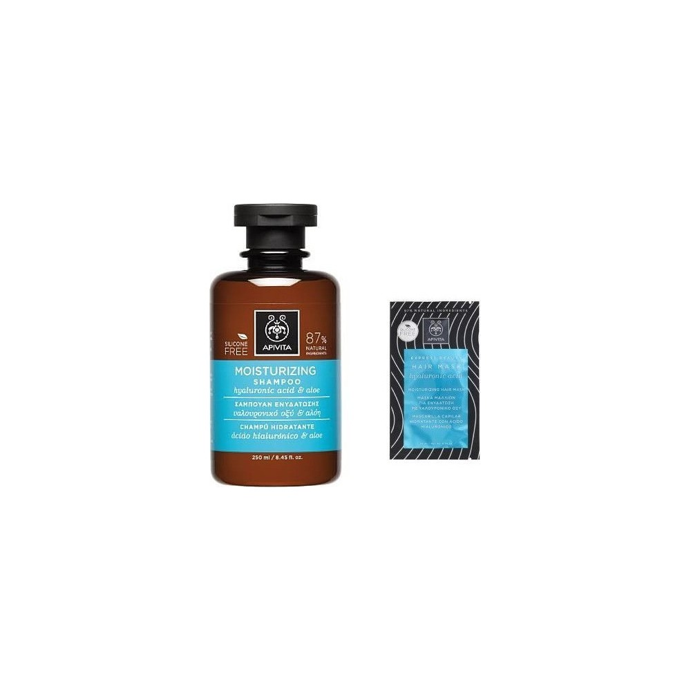 Apivita Σαμπουάν Ενυδάτωσης με Υαλουρονικό Οξύ & Αλόη 250ml & Μάσκα Μαλλιών Ενυδάτωσης 20ml