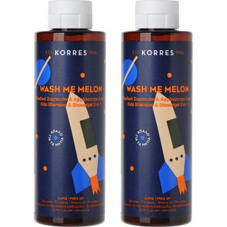 Korres Wash Me Melon 1+1 ΔΩΡΟ, Παιδικό Σαμπουάν & Αφρόλουτρο 2 σε 1 Με Άρωμα Πεπόνι, 250ml, 2 Τεμάχια