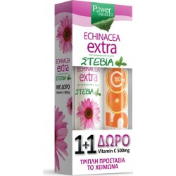 Power Health Echinacea Extra με Στέβια 24 αναβράζοντα δισκία + Vitamin C 500mg Πορτοκάλι 20 αναβράζοντα δισκία