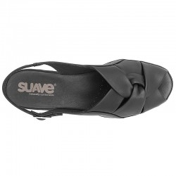 Suave Γυναικείο Δερμάτινο Ανατομικό Πέδιλο 26 Μαύρο