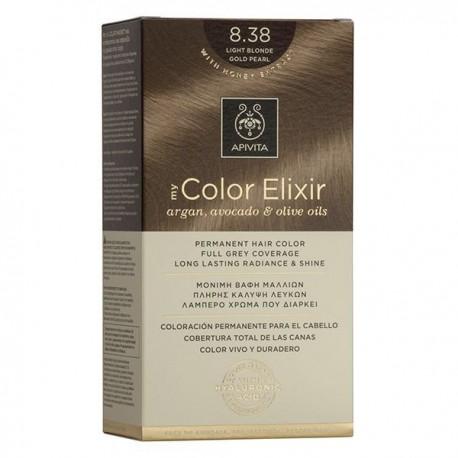 Apivita My Color Elixir Μόνιμη Βαφή Μαλλιών  Ξανθό Ανοιχτό Μελί Περλέ 8.38 1τμχ