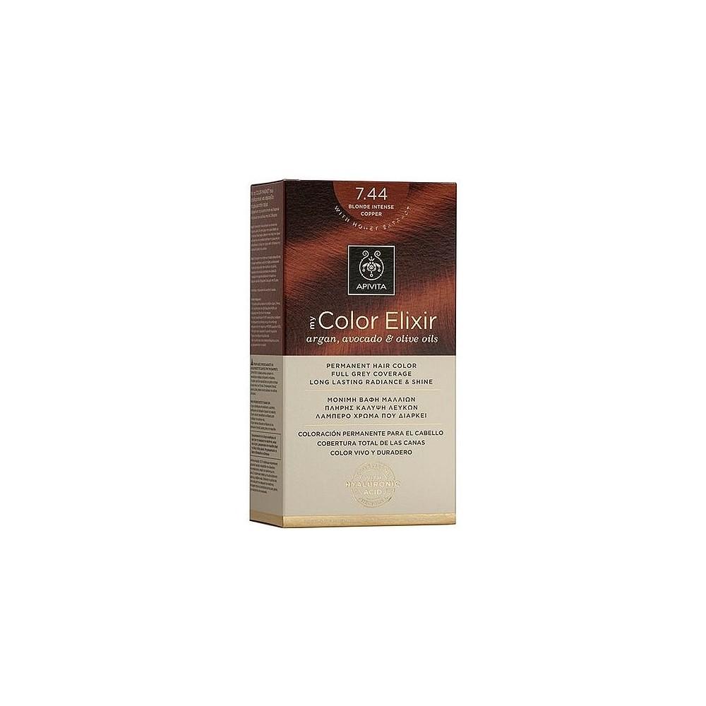 Apivita My Color Elixir Μόνιμη Βαφή Μαλλιών  Ξανθό Έντονο Χάλκινο 7.44  1τμχ