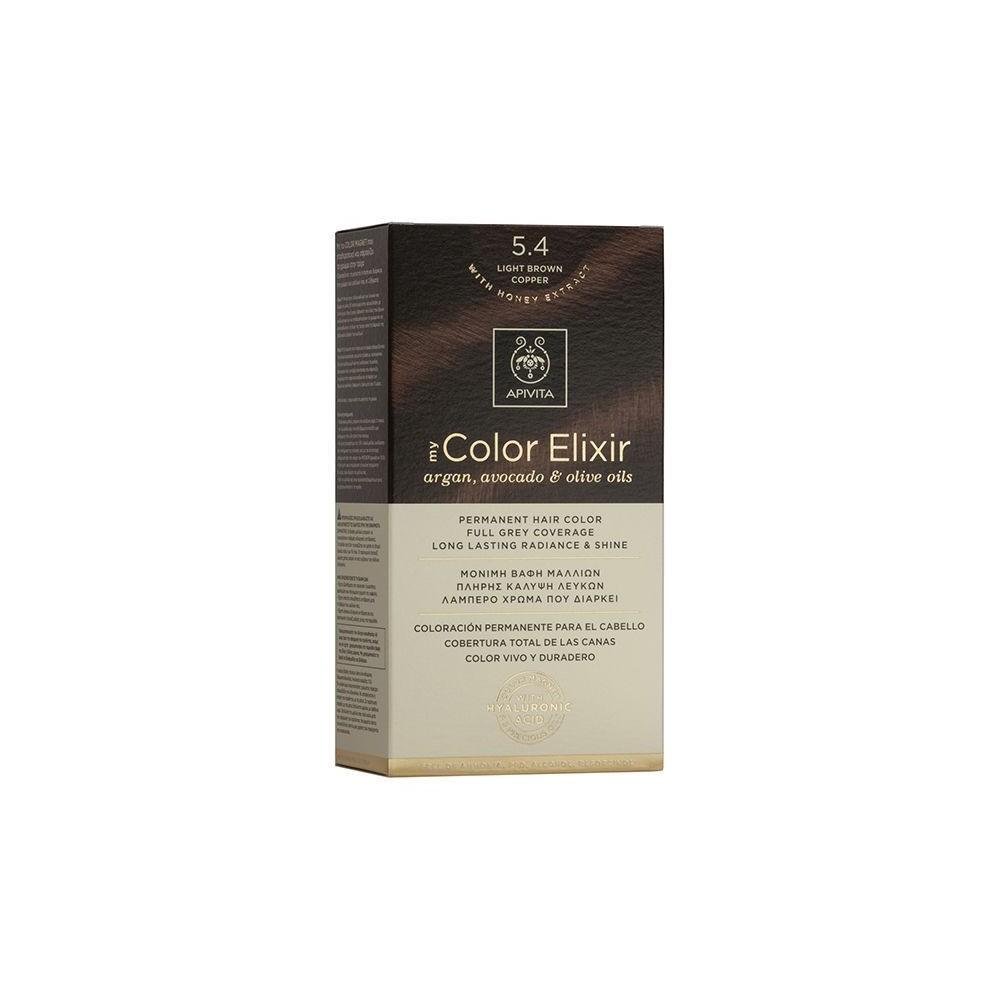 Apivita My Color Elixir Μόνιμη Βαφή Μαλλιών  Καστανό Ανοιχτό Χάλκινο 5.4  1τμχ