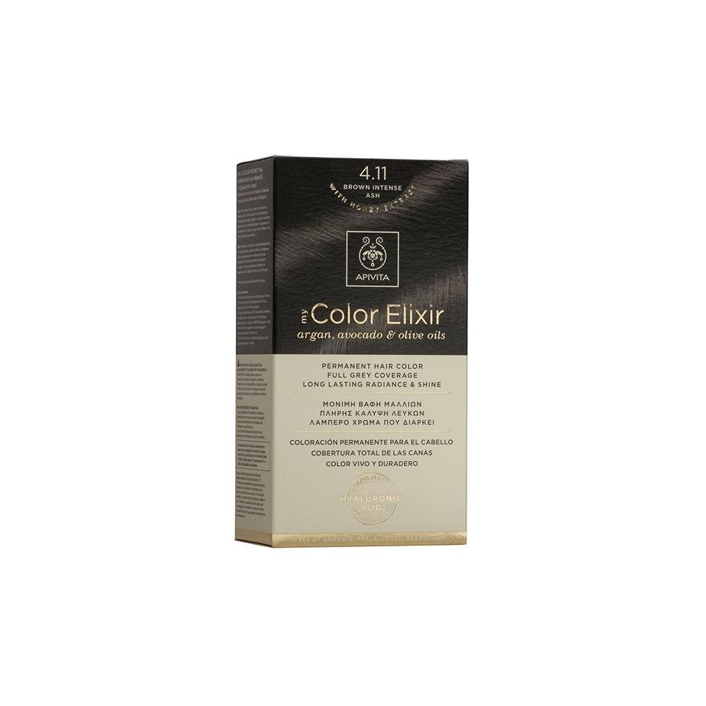 Apivita My Color Elixir Μόνιμη Βαφή Μαλλιών  Καστανό Έντονο Σαντρέ 4.11  1τμχ