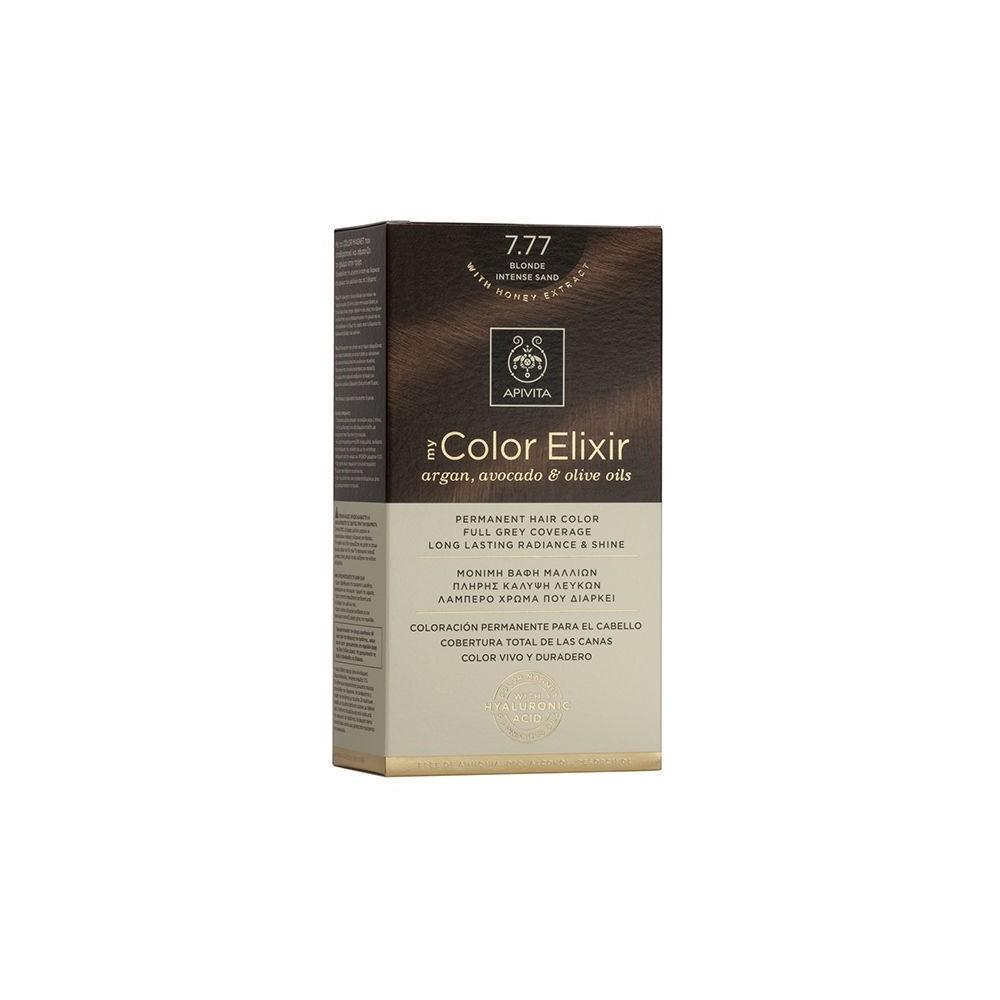 Apivita My Color Elixir Μόνιμη Βαφή Μαλλιών  Ξανθό Έντονο Μπεζ 7.77  1τμχ