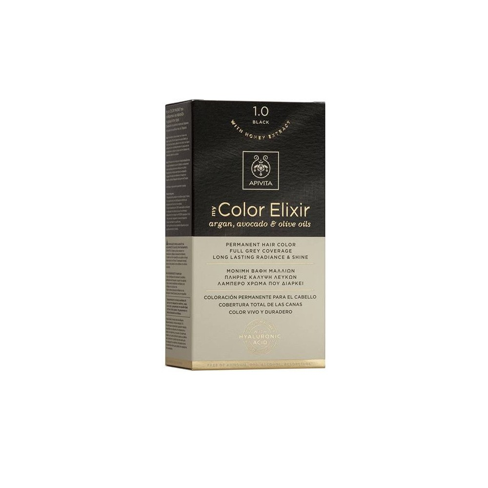 Apivita My Color Elixir Μόνιμη Βαφή Μαλλιών  Μαύρο 1.0  1τμχ