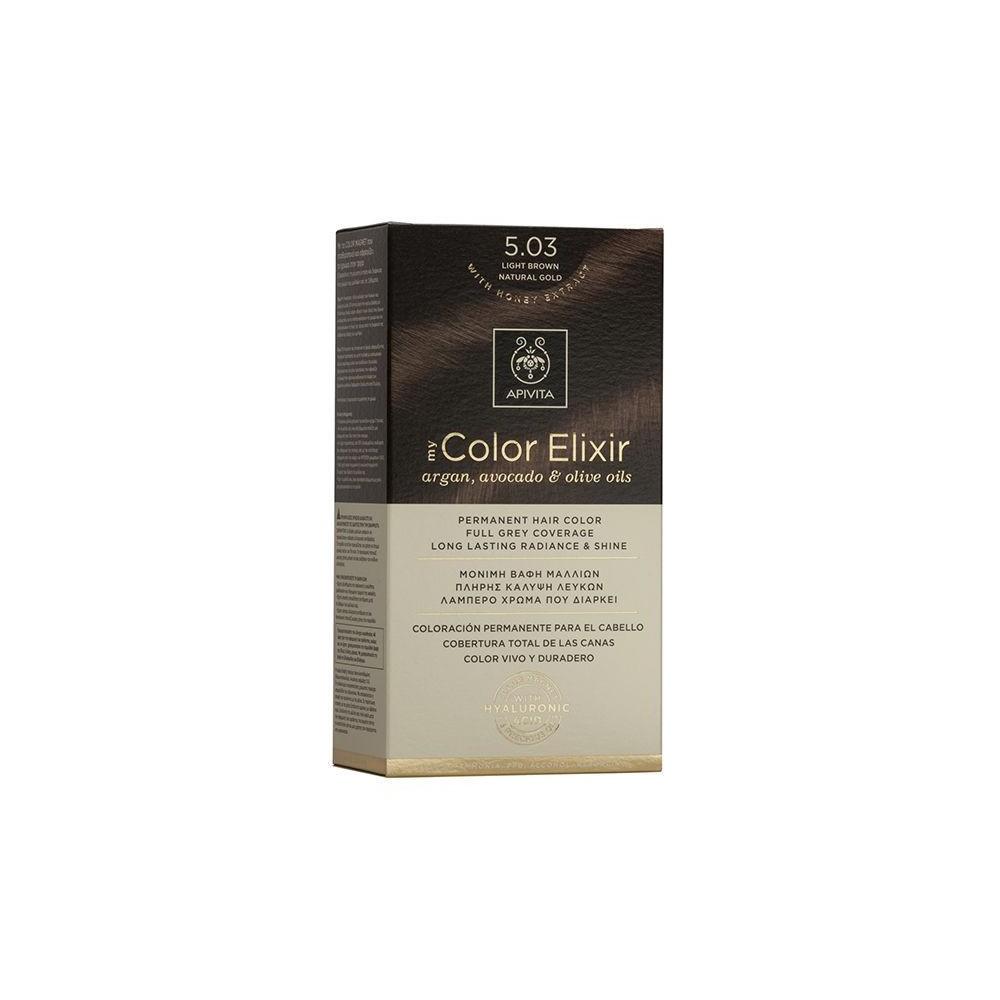 Apivita My Color Elixir Μόνιμη Βαφή Μαλλιών  Καστανό Ανοιχτό Φυσικό Μελί 5.03  1τμχ