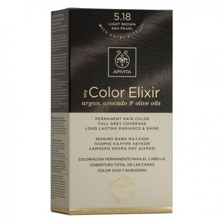 Apivita My Color Elixir Μόνιμη Βαφή Μαλλιών  Καστανό Ανοιχτό Σαντρέ Περλέ 5.18  1τμχ