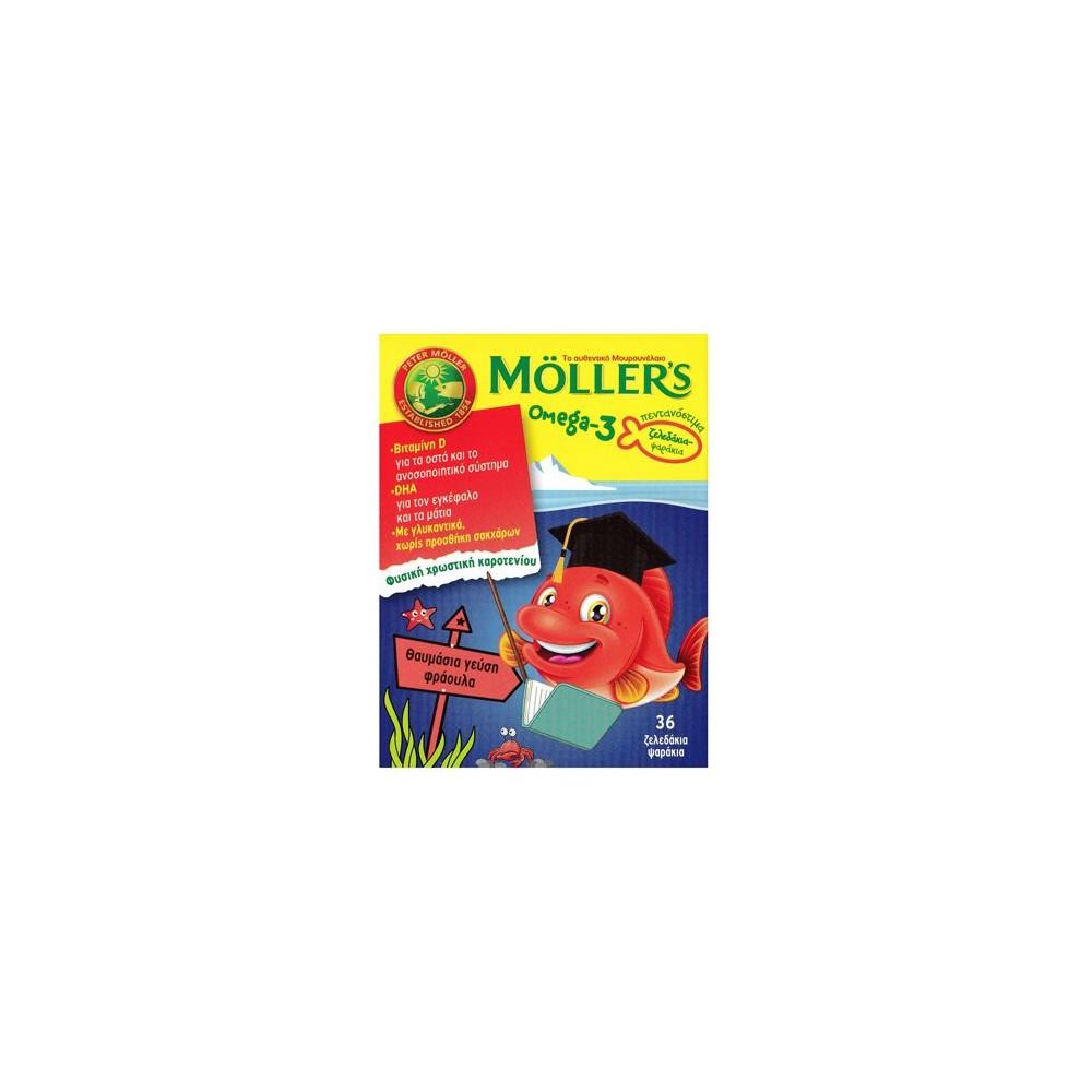 Moller's Omega-3 Kids Ζελεδάκια με Ω3 Λιπαρά Οξέα για Παιδιά με γεύση Φράουλα 36gummies