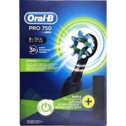 Oral B Pro 750 3D Cross Action Black Edition Ηλεκτρική Οδοντόβουρτσα ΔΩΡΟ Θήκη Ταξιδίου