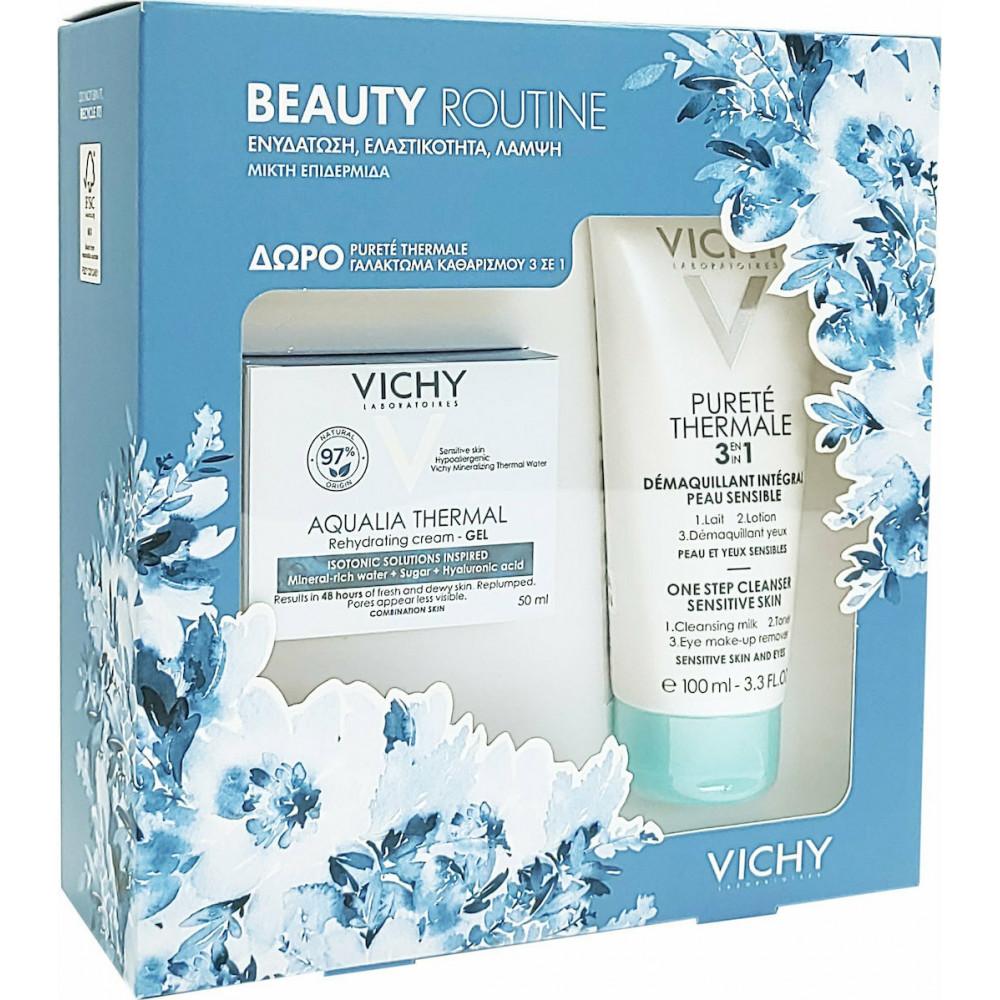 Vichy Beauty Routine Aqualia Thermal Cream-Gel Rehydrating Cream 50ml & Purete Thermale 3in1 100ml