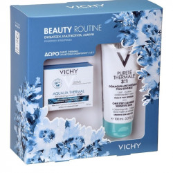 Vichy Beauty Routine Aqualia Thermal Rehydrating Cream Light 50 ml & Purete Thermale 3 in 1 Cleanser 100 ml